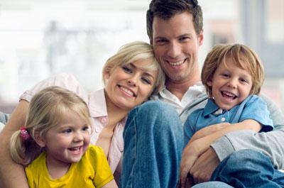 Happy Domestic Family